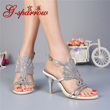 G-sparrow 2019 Summer New Rhinestone Womens Sandals High Heeled Stiletto Elegant Sexy Ladies Black Casual Shoes 8cm