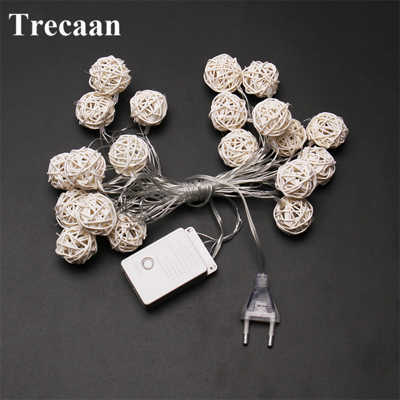 Trecaan US/EU regulations 20LEDs warm light rattan ball festival decoration light string Christmas outdoor decoration sky star