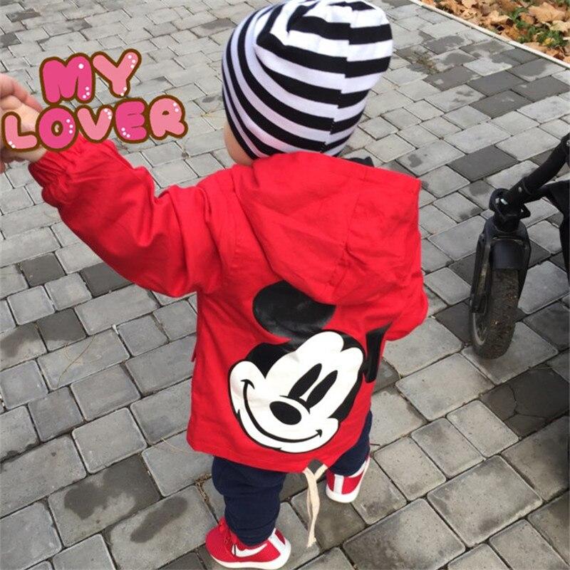 2018 Nieuwe Jongens Meisjes Jassen Voor Lente Herfst Kids Kinderen Bovenkleding Leuke Mickey Windjack Harte Kleding Jassen Drie Kleur Aantrekkelijk Uiterlijk