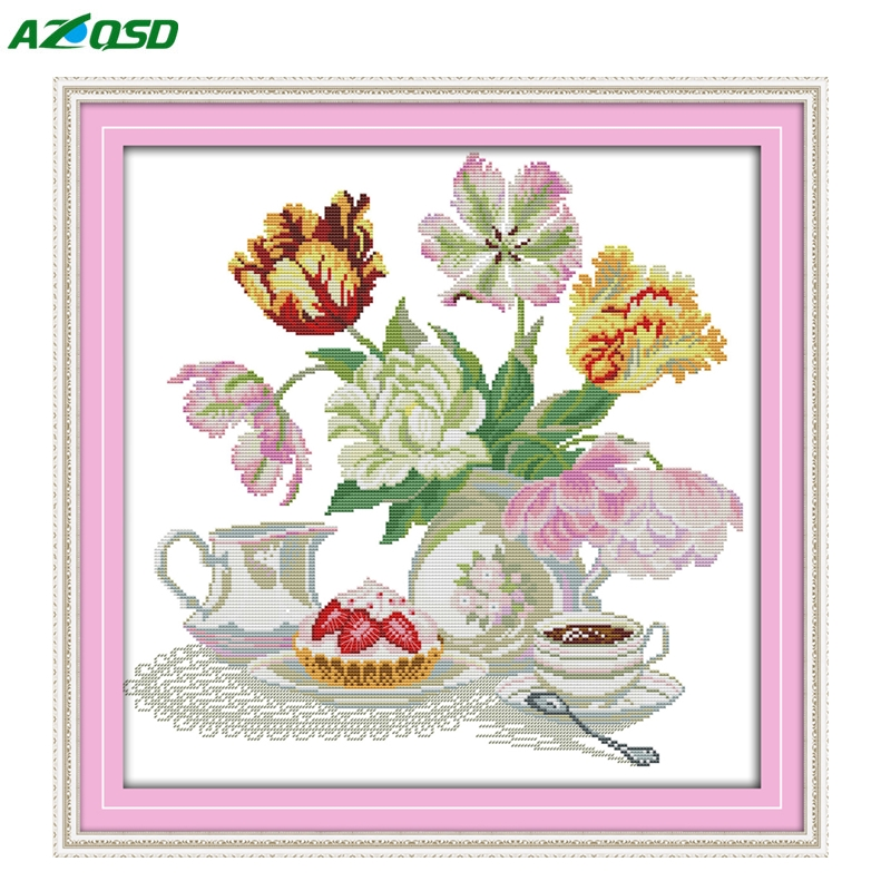 Cross Stitch Colored Flower dessert coffee painting counted print on canvas DMC 14CT 11CT Needlework Sets Embroidery kits h573