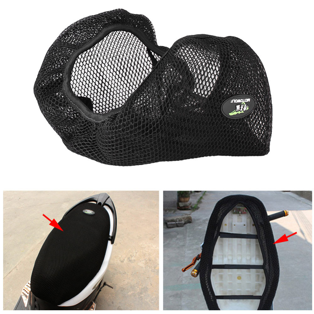 3D Motorcycle Scooter Electricmobike Breathable Mesh Net Seat Cover Cushion Protector Sun Pad Heat Insulation Cushion Cover
