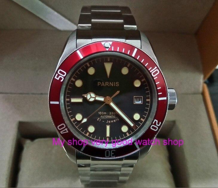 купить 41mm Parnis Sapphire Crystal Japanese 21 jewels Automatic Self-Wind Movement Mechanical watches 5Bar Luminous Men's watches 17pa по цене 10770.8 рублей