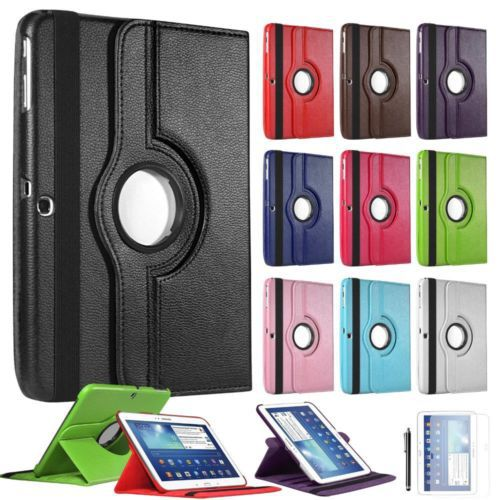 For Samsung Galaxy Tab 3 10.1 inch P5200 P5220 P5210 Tablet PU Leather Case Cover 360 Rotating Smart Stand Screen Protector