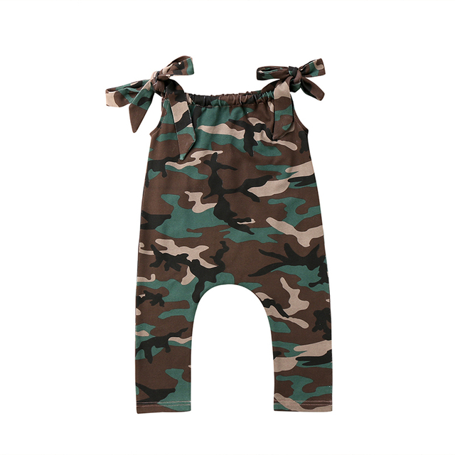 bb441cb01494 Daddy s Little Soldier Toddler Kids Baby Girl Summer Clothes Camouflage  Sleeveless Strap Romper Jumpsuit Loose Harem Pant Outfit