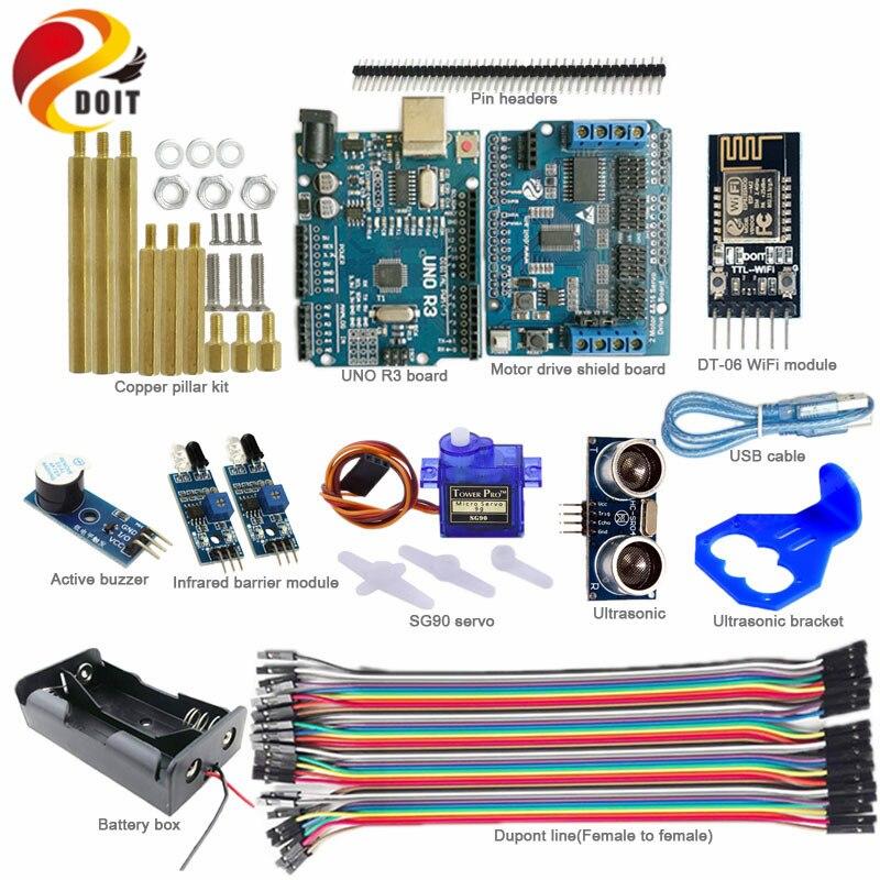 Kit de contrôle WiFi DOIT avec carte UNO Arduino + panneau de protection d'entraînement moteur pour éviter les obstacles à ultrasons infrarouges pour Kit Arduino
