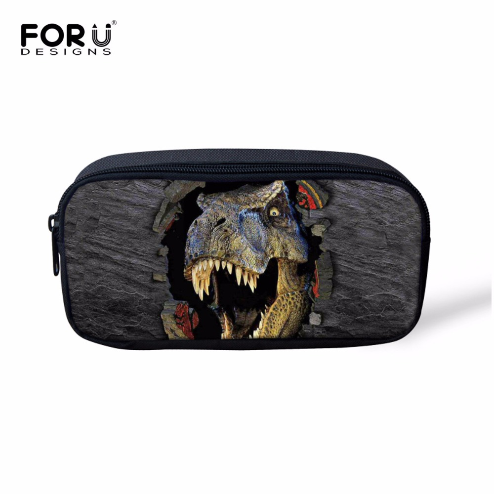 FORUDESIGNS Cool 3D Dinosaur Kids Pencil Case Women Makeup Bag Cosmetics Cases Pen Box For School Stationery Pencil Bags Holder big capacity high quality canvas shark double layers pen pencil holder makeup case bag for school student with combination coded lock