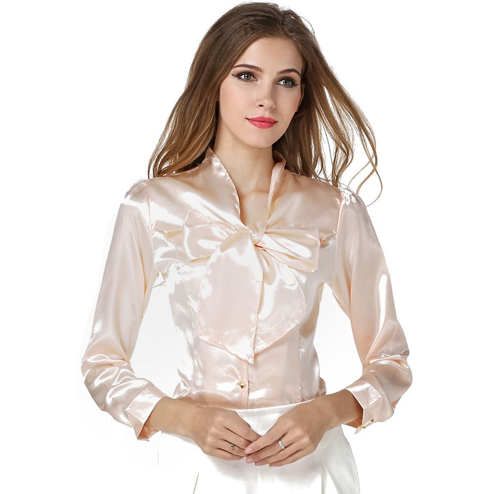 2018 Autumn Fashion Women Faux Silk Bow Formal Blouses And Shirts