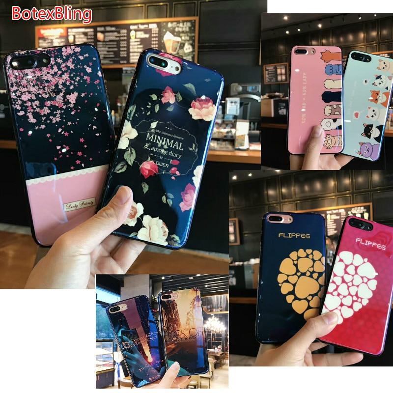 BotexBling Lucido Blu-Ray fiore Amore gatto tpu della CASSA del silicone per iphone caso X per il iphone 7 7 più 6 6 s più 6 più della copertura posteriore