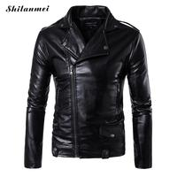 2017 Spring Summer Men S Motorcycle Coat Turn Down Collar Slim Casual Male Leather Jacket Black