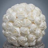 Бесплатная доставка Дешевые marfim цвета слоновой кости Шелковый букет невесты различных Размеры для девочек в цветочек/невесты атласные Хол...