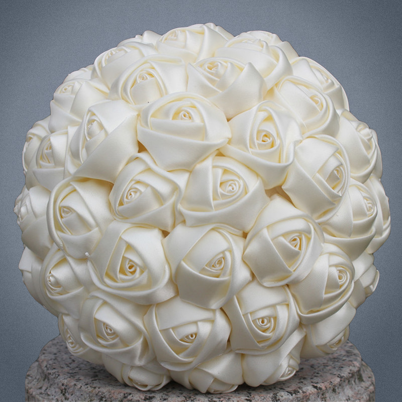 Free Shipping Cheap Marfim Ivory Silk Bridal Bouquet Different Size for Flower Girl/Bridesmaid/Bride Satin Holding Flower W223-5