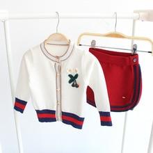 купить Children Baby Kids Girl Knitted Sweater Set Skirts Baby Girls Sweater Sets Cardigan Outerwear Coats Girls Knit Jackets Skirts дешево
