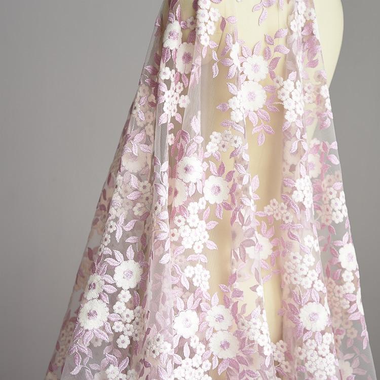 1 м 135 см Ширина Роза Вышивка Кружево Ткань для свадебное платье DIY ручной работы Свадебное платье Интимные аксессуары Ткань