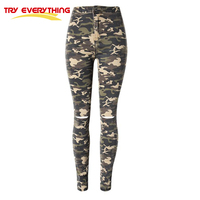 Try Everything Military Jeans Women Ripped Shinny Camouflage Jeans Female Pencil Stretch Pants High Waisted Army Jeans Women