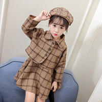 Children's clothes 2018 autumn style infant baby kids clothing sets spring girls wool coat and dresses and hat 3 pieces jackets