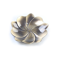 1PC Alloy Bronze Flower Teacup Tray Retro Copper Teacup Mat Diameter 9cm Petal Coffee Cup Drinks Holder Chinese Puer Tea Set(China)
