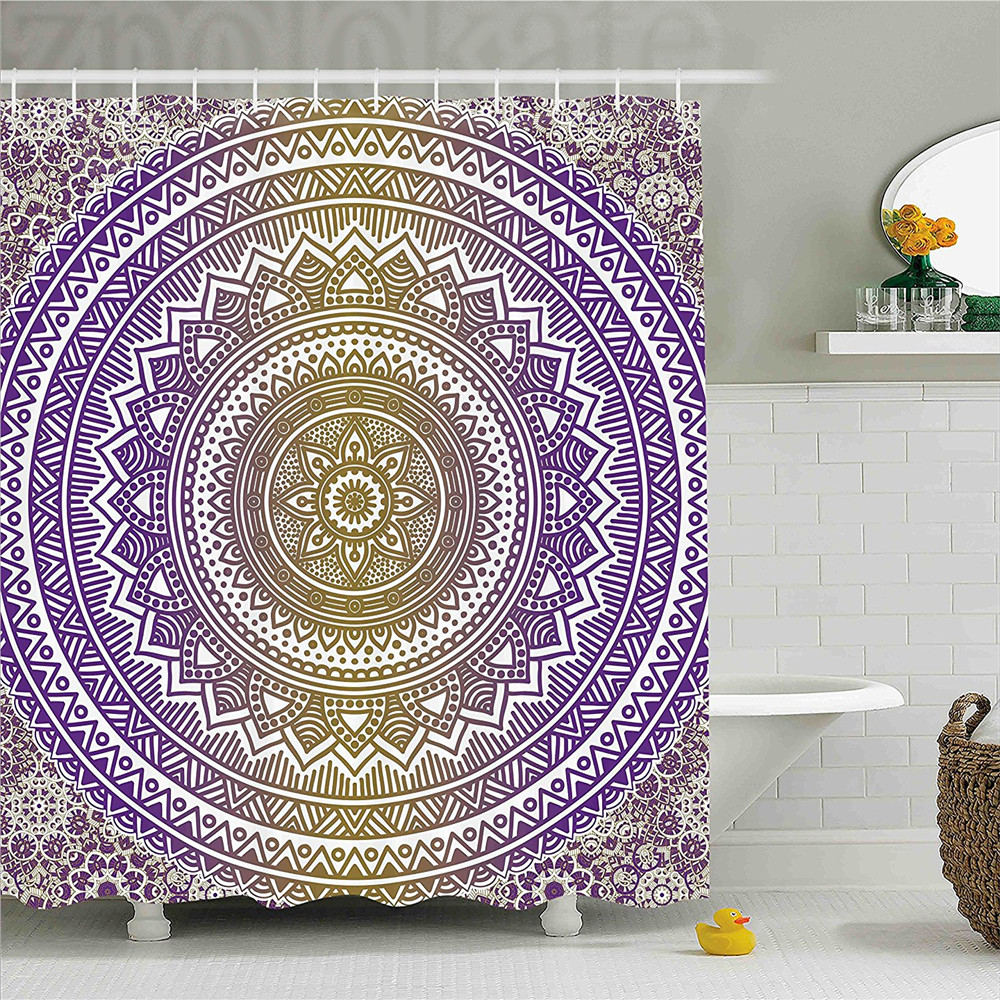 Yellow and Purple Shower Curtain Mandala Tribal Vintage Ethnic Karma in Cosmos Artsy Ombre Design Bathroom Decor Set with Hooks