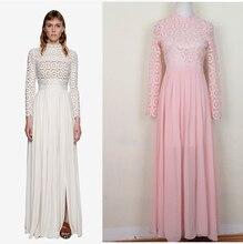 Elegant Women Floor-length Lace Chiffon Patchwork Dress, Runway Celebrity Cutout Lace Chiffon Pleated Dress