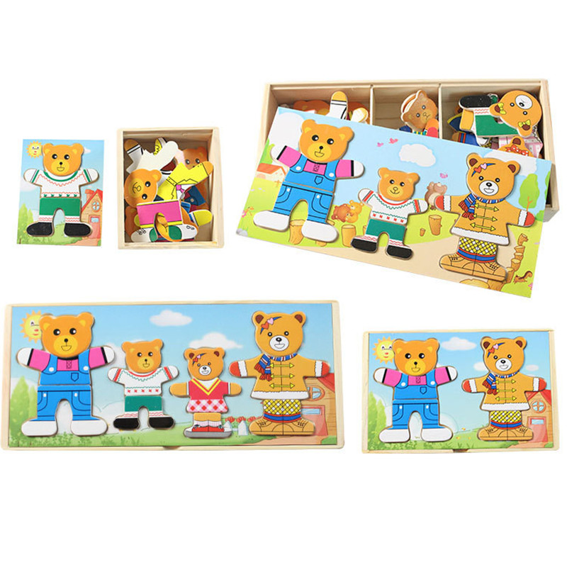 Wooden Puzzle Set Baby Educational Toys Bear Changing Clothes Puzzles Kids Children's Wooden Toy