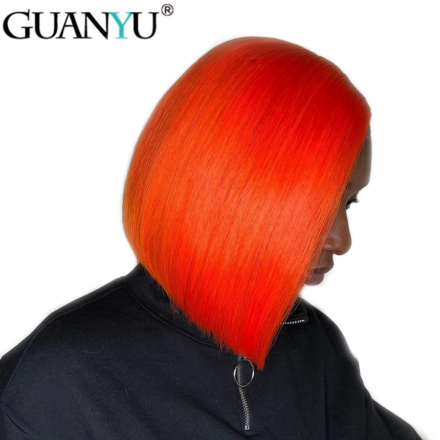 Short Bob Brazilian Remy Human Hair Lace Front Wig Orange 13*4 Lace Front Wigs Hair Pre Plucked With Baby Hair For Black Women