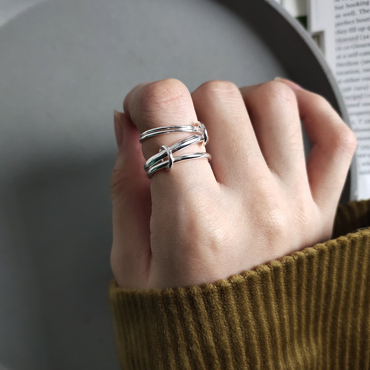 Korean edition 925 sterling silver ring Handmade heavy industry multi-circle line ring fashion Jewelry