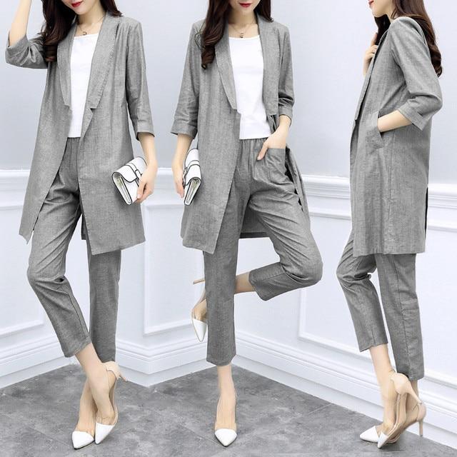 Spring Womens Summer Half Sleeve Long Jacket Trouser Suit Set 2 Pieces Pant Suits For Women Cotton Linen Pantsuit Greem Grey