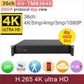 4 * HDD slot #4 K Ultra HD ONVIF p2p NVR DVR 36ch 4 K h.265/5mp/4mp/3 m/2mp câmera IP gravador de vídeo sistema de cctv GANVIS GV-TM8364X