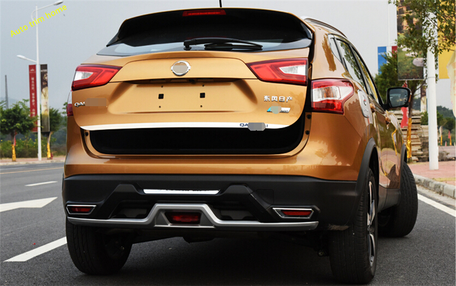 For Nissan Qashqai J11 2014 2015 2016 Stainless Steel Rear Trunk Boot Tail Gate Door Cover Trim Molding Edge Strip Garnish 1 Pcs for nissan qashqai j11 2014 2015 2016 2017 custom car trunk mat cover rugs waterproof leather auto rug interior accessories