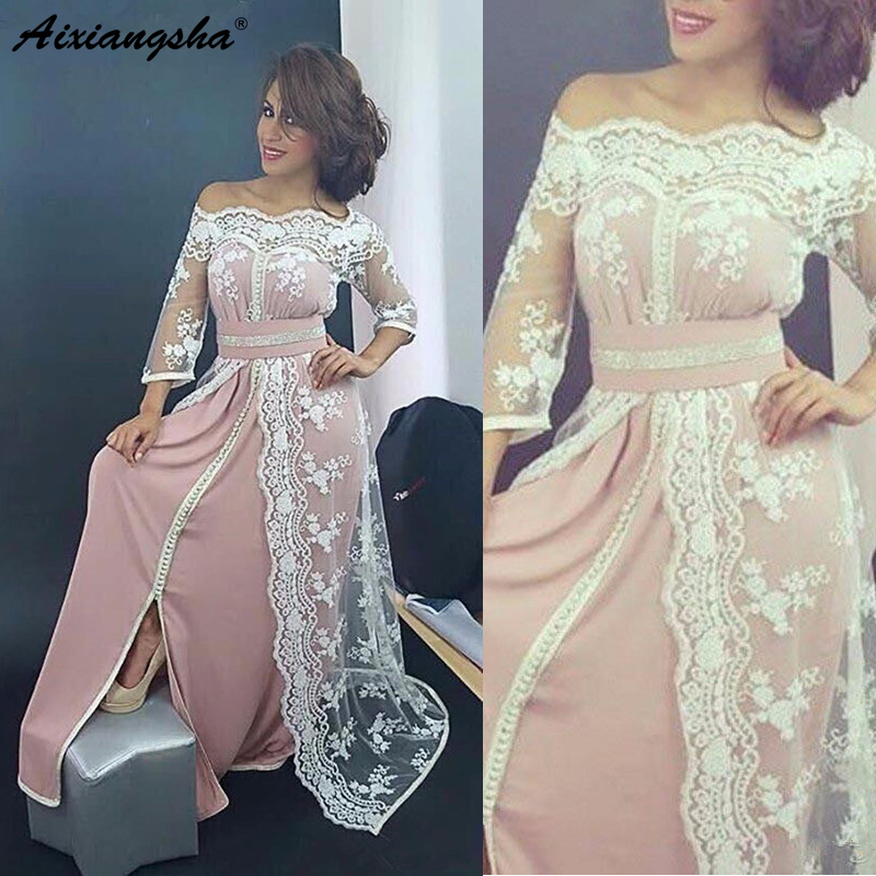 Pink Muslim   Evening     Dresses   2019 A-line 3/4 Sleeves Satin Lace Islamic Dubai Saudi Arabic Long Elegant Prom   Dress     Evening   Gown