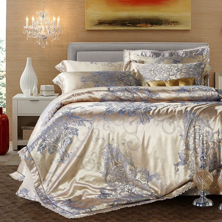 18colors luxury gold stain jacquard bedding set 4pcs king for King shams on queen bed