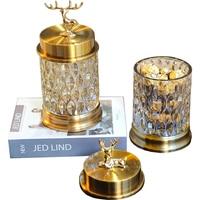 Exquisite home living room sika deer glass candy jar Fashion golden deer decoration glass storage bottle