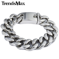 19mm Polished Silver Tone Cut Curb Cuban Link Mens Boys Chain 316L Stainless Steel Brcelet Personalize