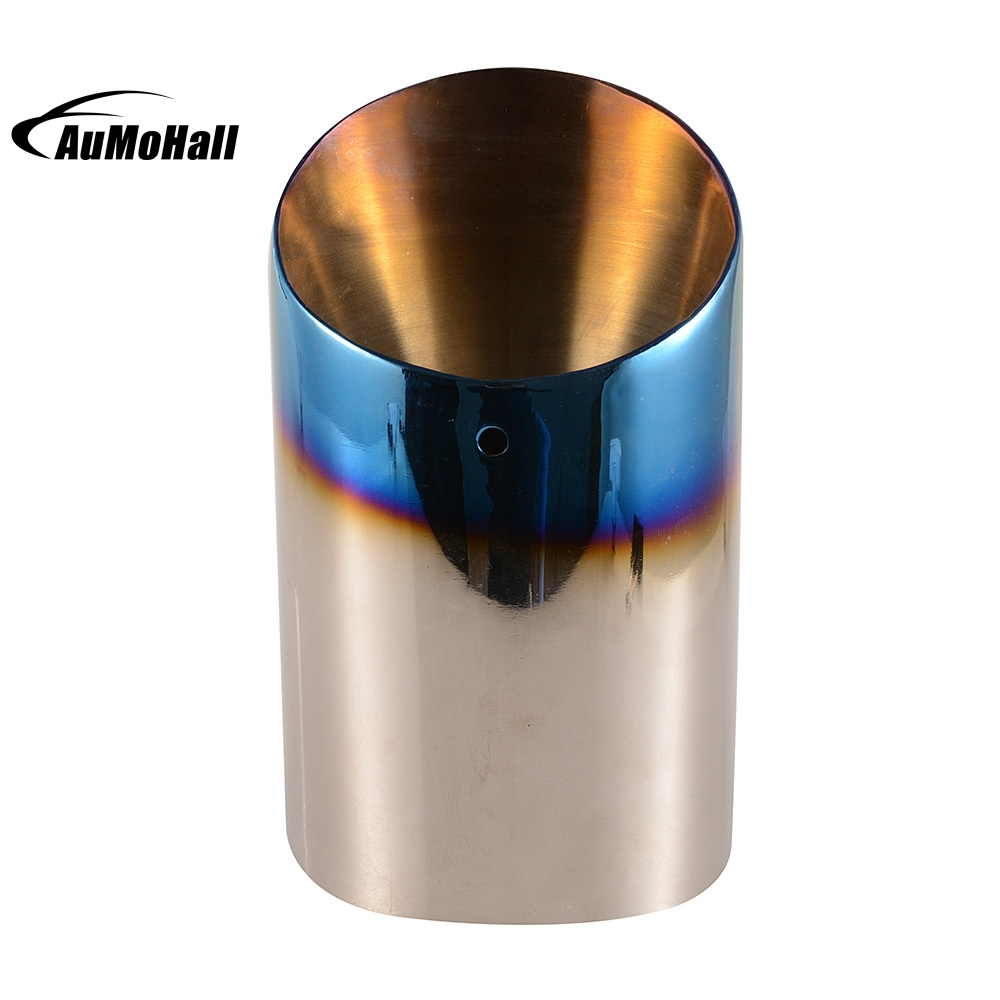 Silver Blue Stainless Steel Chrome Round Tail Muffler Tip Pipe font b Automobile b font Single