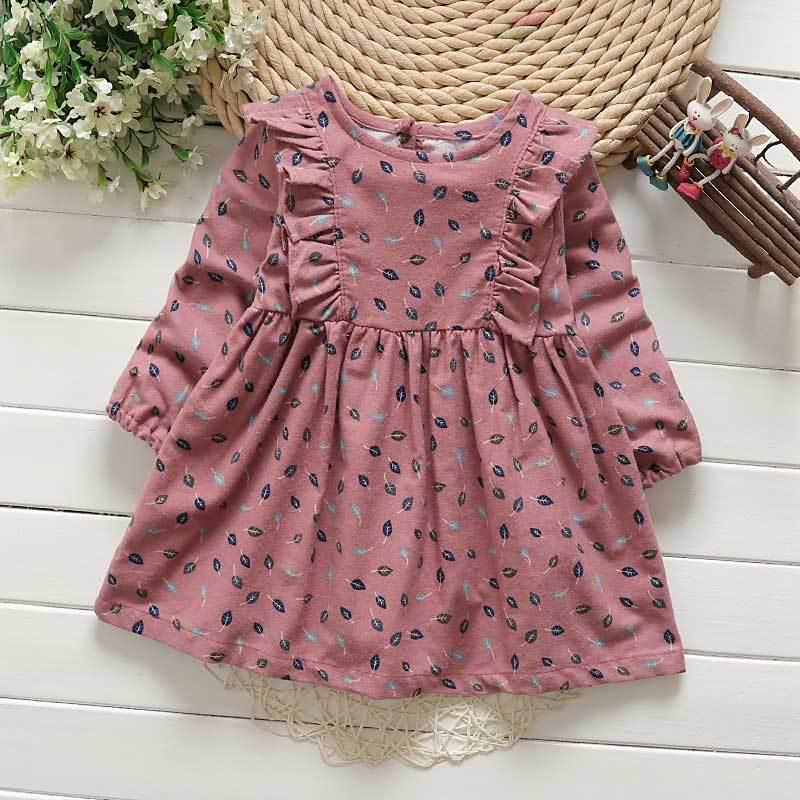 Lollas Dress Printing Princess Dress Long Sleeve Flowers Printing Design for Children Clothes