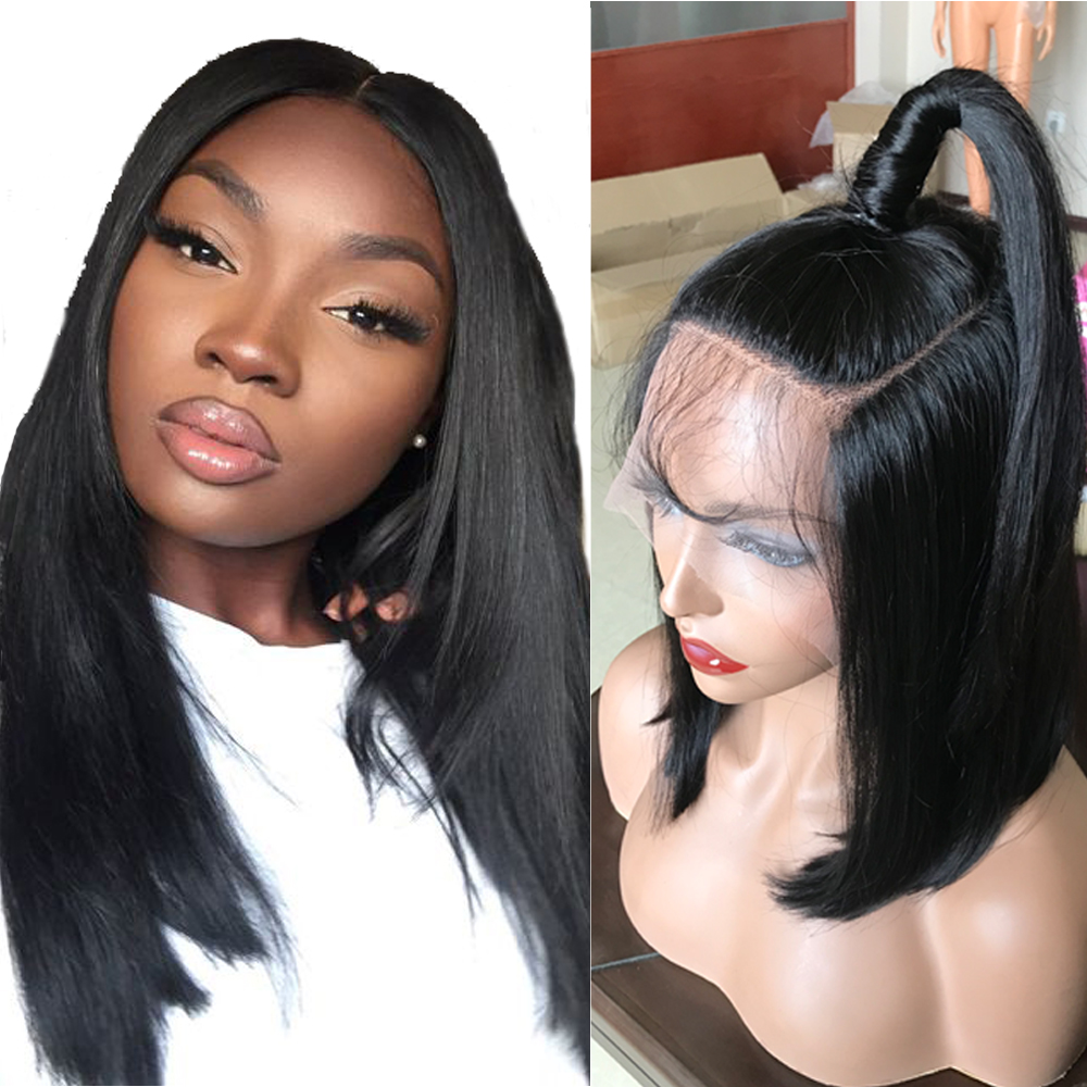 Sapphire Glueless Human Hair Wigs With Bangs For Black Women Remy Brazilian Human Hair Lace Front Wig Pre Plucked Bang Good Taste Lace Wigs