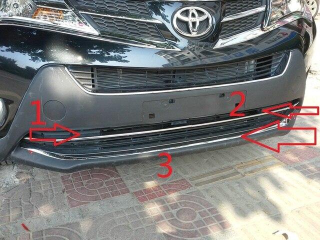 Chrome front bumper trim auto grille decoration cover for rav4 2014 2015,ABS chrome