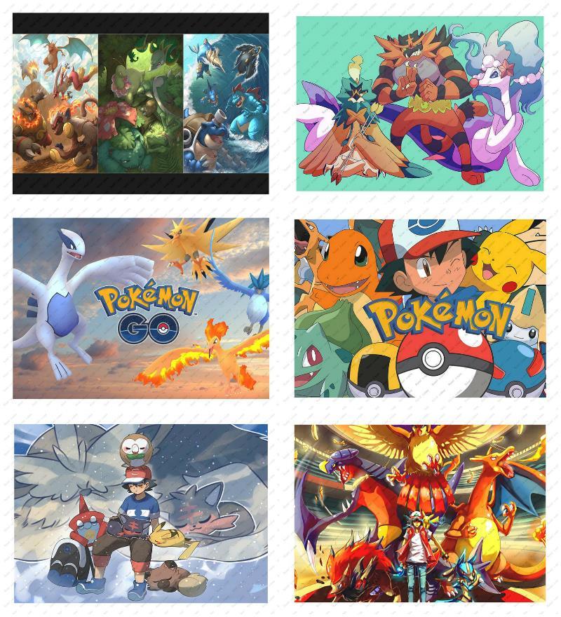 Pokemon Pikachu Poster Retro Poster Wall sticker Japanese Anime Poster  Pikachu White Kraft Poster Decorative paintings