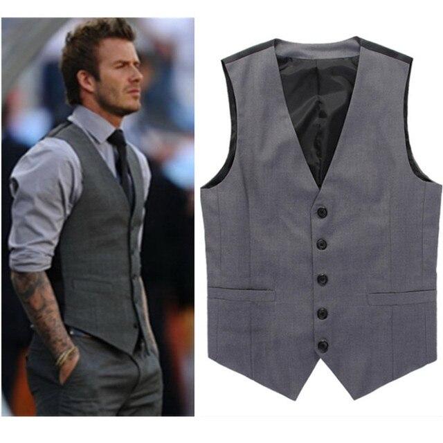 Gris ajustado Fit vestido chalecos para hombres David Beckham Formal Hombre  traje chalecos boda sin mangas 118c2d14b6eb