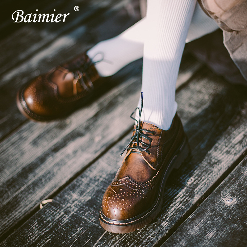 Baimier Autumn Winter Genuine Leather Women Shoes Vintage Lace Up Oxford Shoes For Women British Style Brogues Flat Shoes Woman