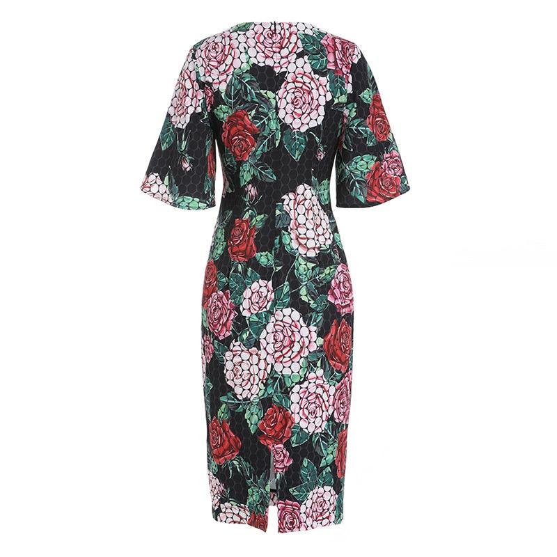 Chic women elegant pencil dress 2019 spring runways floral print dress D862 in Dresses from Women 39 s Clothing