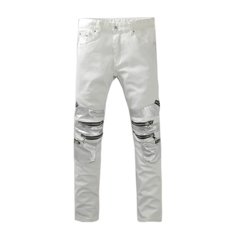 ФОТО 2016 New Men's Nightclubs white Jeans, Fashion Designer many pocket Denim Jeans Men,plus-size 28-42, casual jeans