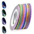 12 unids 2mm Colorful Glitter Nail Art Decoraciones Line Striping Etiqueta Engomada 3d Plata BRICOLAJE Herramientas de Manicura Set NC393
