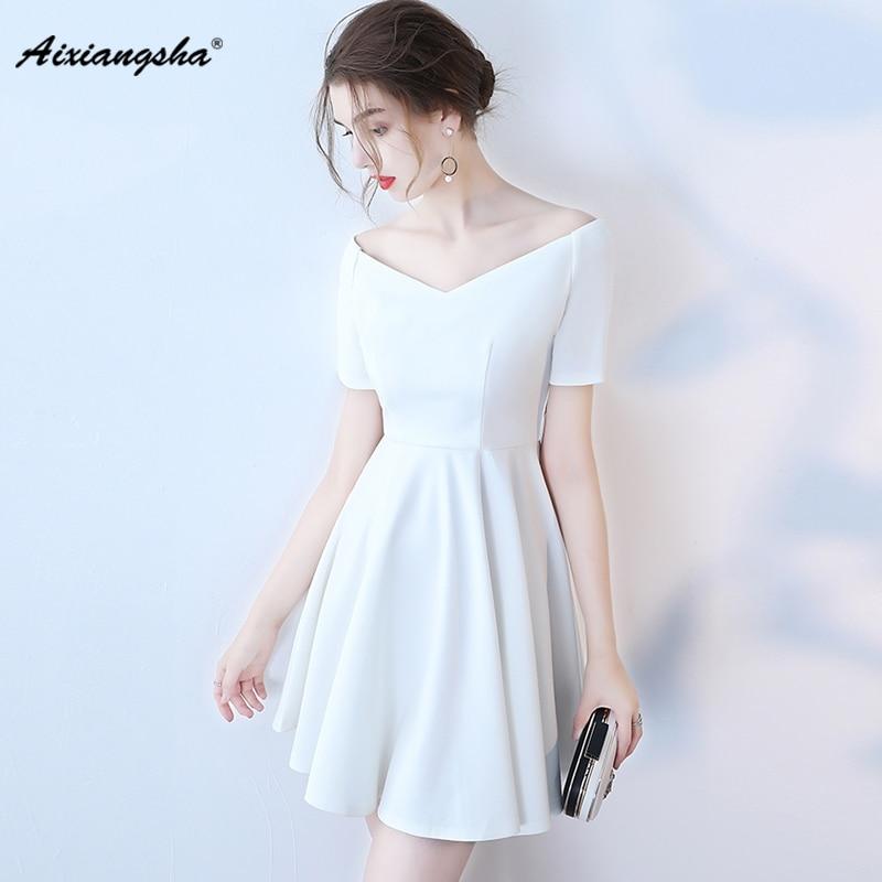 Cheap V Neck Off White Dress For Wedding 2018 Custom Color