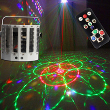 9 Color Butterfly Laser Double Sword Light KTV Bar Flash Voice Control Rotate Stage Lights 18W DMX512 Pattern Projection Lamp high quality mini ktv laser light sound laser stage light dynamic bar flash lamp