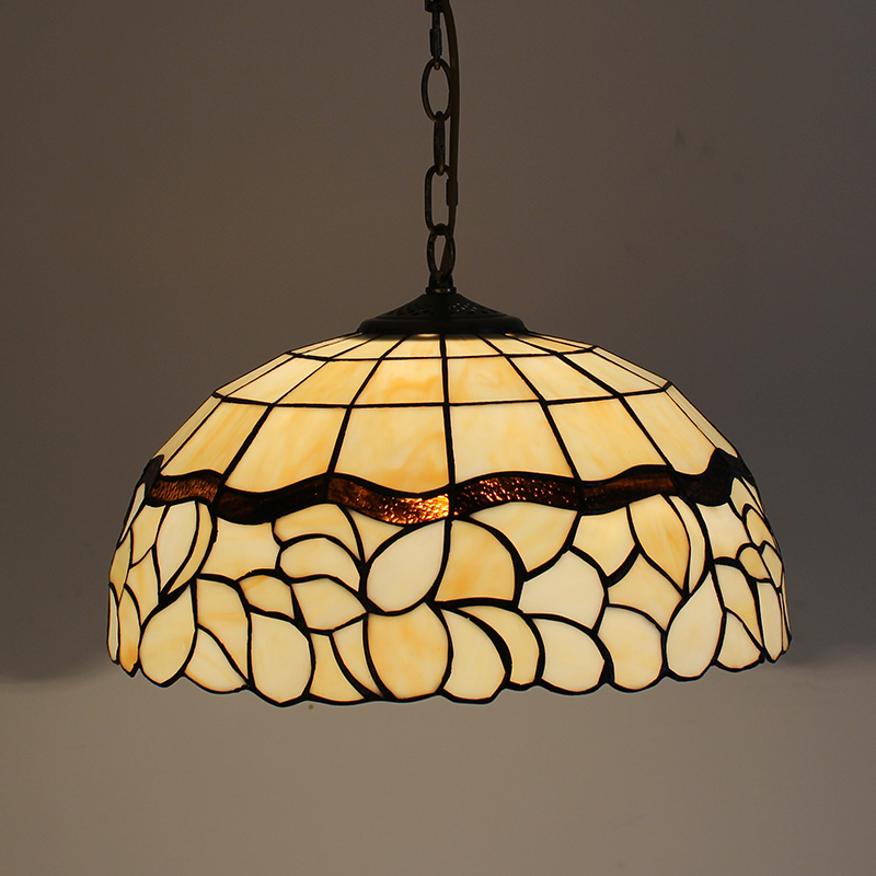 Tiffany Baroque Stained Glass Suspended Luminaire E27 LED Iron Chain Pendant Light Lighting Lamp for Home Parlor Dining Room - 3