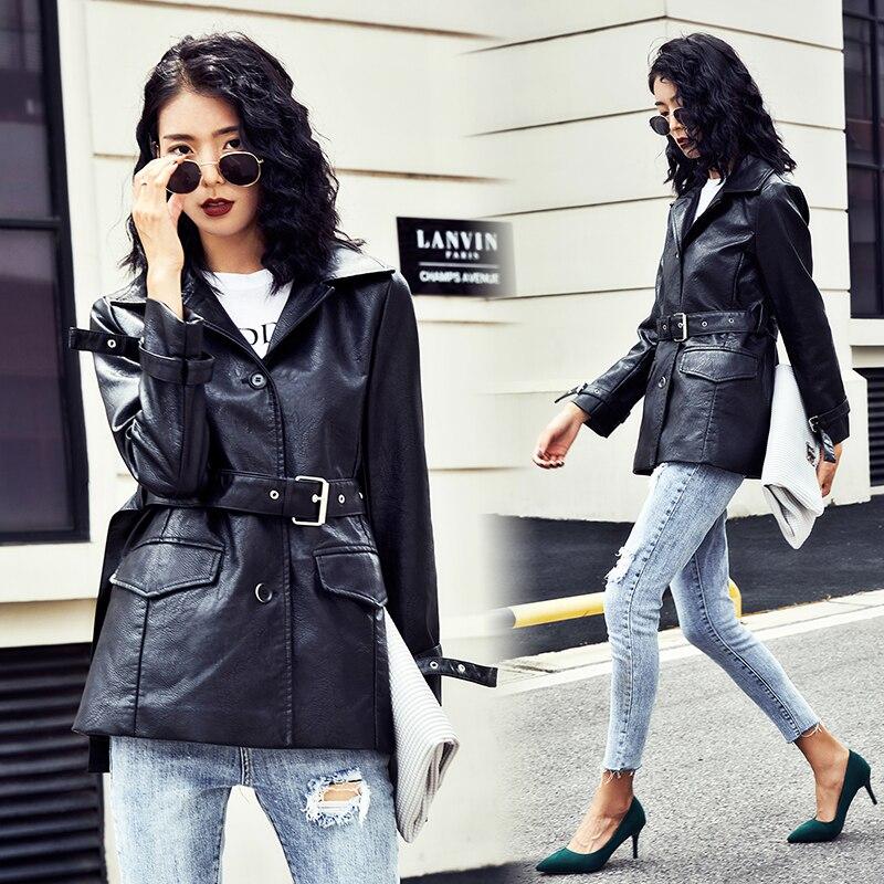 Pu cuir veste femmes mode couleurs vives noir moto manteau long Faux cuir Biker veste doux veste femme 2019 nouveau