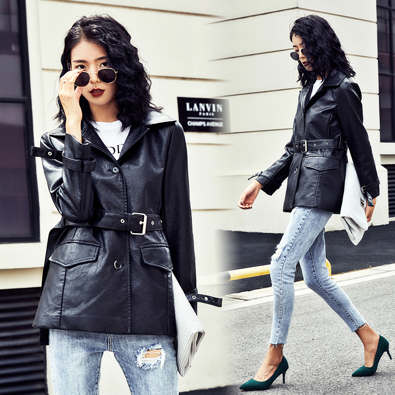 Pu   Leather   Jacket Women Fashion Bright Colors Black Motorcycle Coat long Faux   Leather   Biker Jacket Soft Jacket Female 2019 New