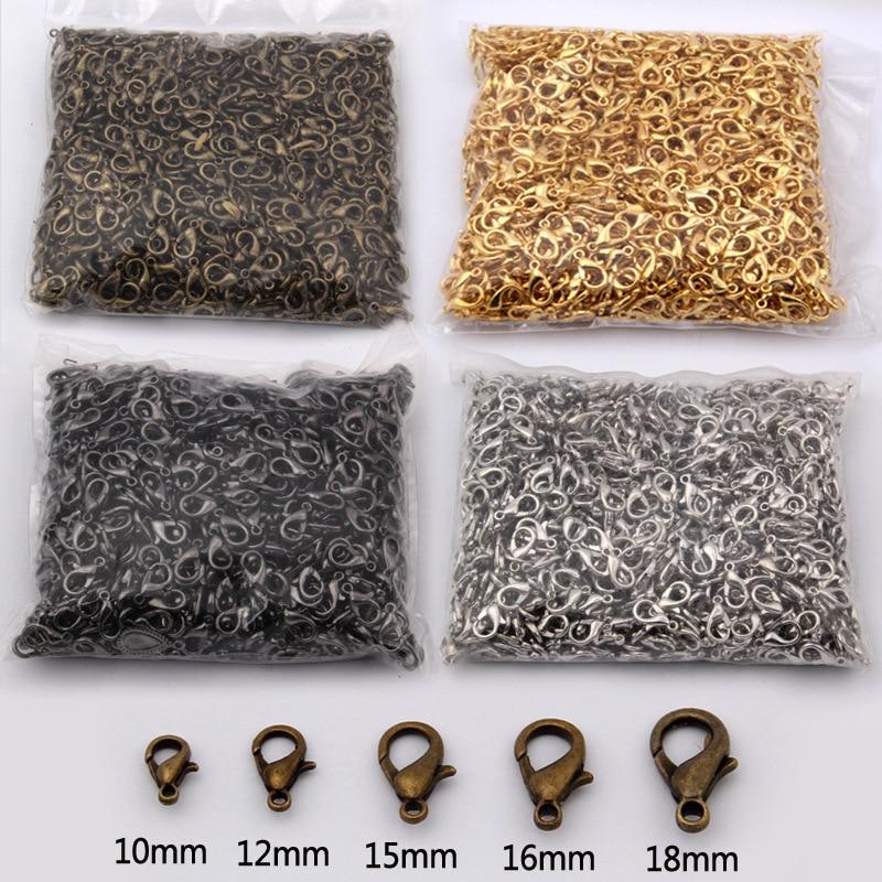 50//100pcs 10//12//14mm 5 colors loose lobster clasp suitable for necklace bracelet