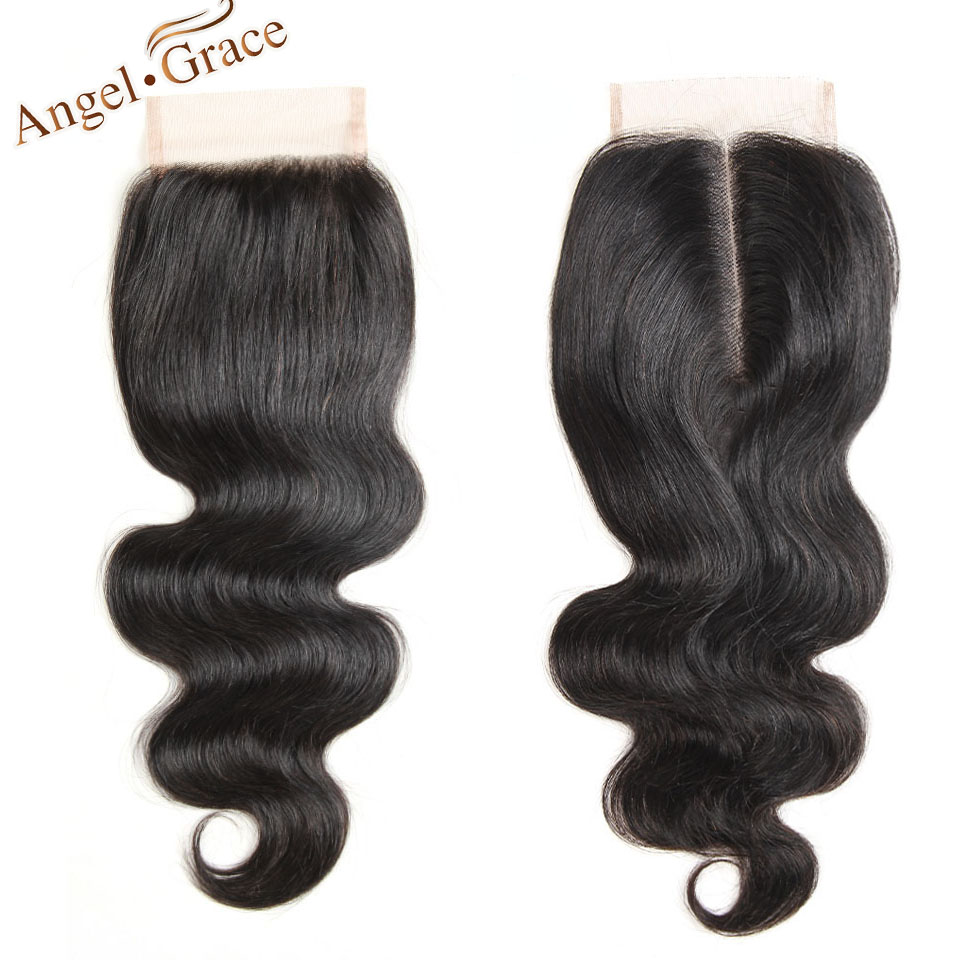 ANGEL GRACE HAIR Peruvian Hair Body Weave Closure Free/Middle Part Remy Human Hair Lace Closure 10-22 Inch Natural Color