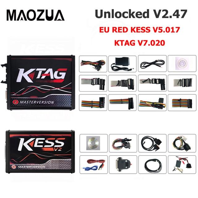 Newest Kess V2 Master Kess V2.47 V5.017 EU Red PCB No Token Limit Ecu Programming Ktag V7.020 V2.34 OBD2 Manager Tuning Kit